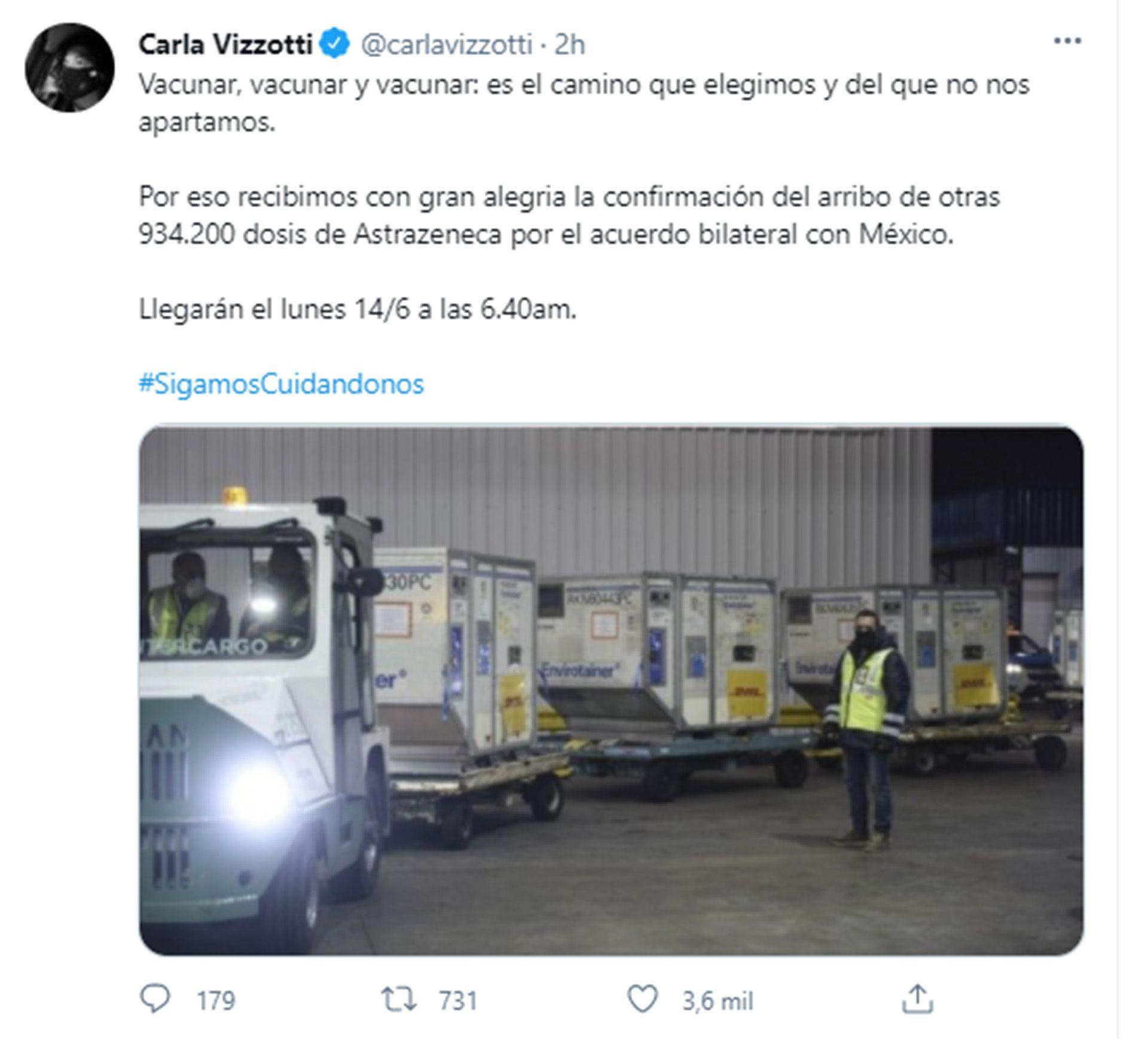Carla Vizzotti tuit