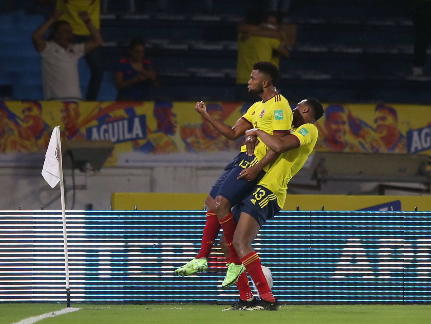 Soccer Football - World Cup - South American Qualifiers - Colombia v Argentina - Estadio Metropolitano, Barranquilla, Colombia - June 8, 2021 Colombia's Miguel Borja celebrates scoring their second goal with teammate Yerry Mina REUTERS/Luisa Gonzalez