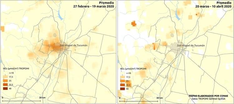 Mapa comparativo de NO2 en San Miguel de Tucumán, de febrero-marzo - marzo-abril (CONAE)