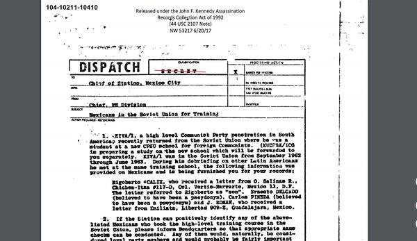 Entre los documentos desclasificados sobre el asesinato de JFK, se busca agentes locales entrenados en la Unión Soviética, y se intercepta correspondencia sin avisar a las autoridades.