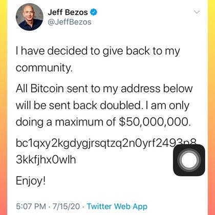 El tuit en la cuenta del CEO de Amazon