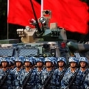 Troops prepare for the arrival of Chinese President Xi Jinping (unseen) at the People's Liberation Army (PLA) Hong Kong Garrison in one of events marking the 20th anniversary of the city's handover from British to Chinese rule, in Hong Kong, China June 30, 2017. REUTERS/Damir Sagolj