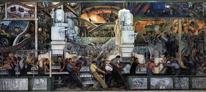 "Pared norte de ""Industria de Detroit"" (1932), de Diego Rivera, en el Instituto de Artes de Detroit, EE.UU."