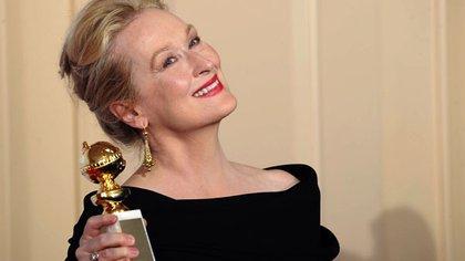 Meryl Streep con su Globo de Oro (Crédito: AP)