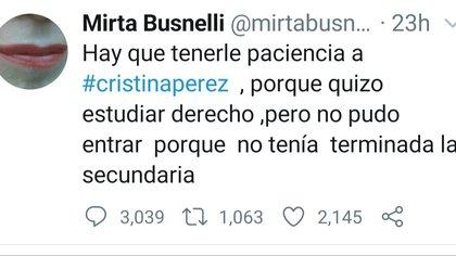 El posteo de Busnelli hablando de Cristina Pérez