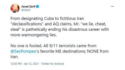 """El tuit de Zarif este martes luego de que Pompeo denunciara que Irán es """"la base de operaciones"""" de Al Qaeda"""