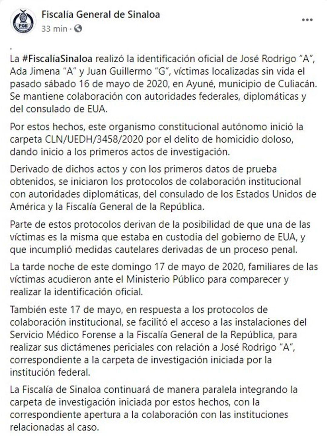 Comunicado Fiscalía General de Sinaloa (Foto: Facebook@Fiscalía General de Sinaloa)