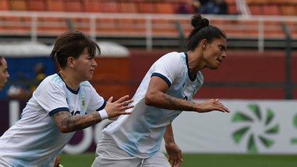 Soledad Jaimes festeja su gol ante Costa Rica (Crédito: Stefanía León – AFA)