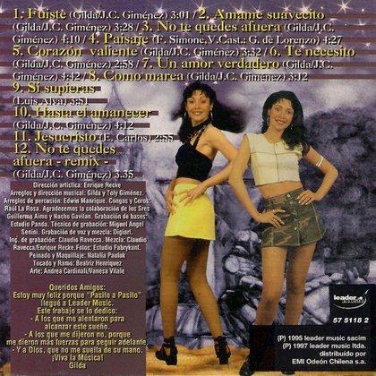 """Las palabras de Gilda en una de las carátulas internas del disco: """"¡Viva la música!""""."""