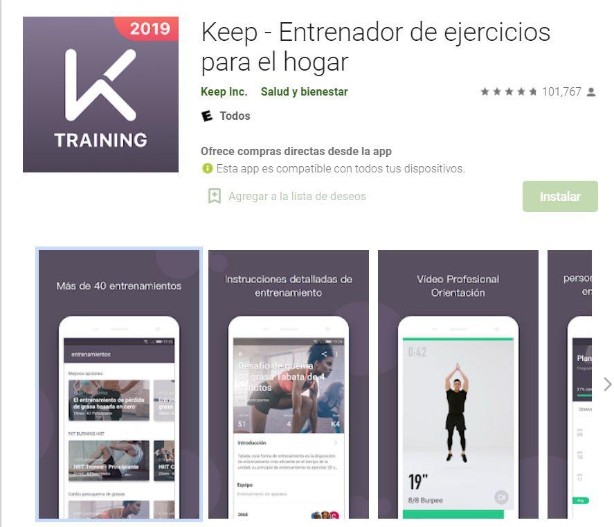 aplicación de fitness keep