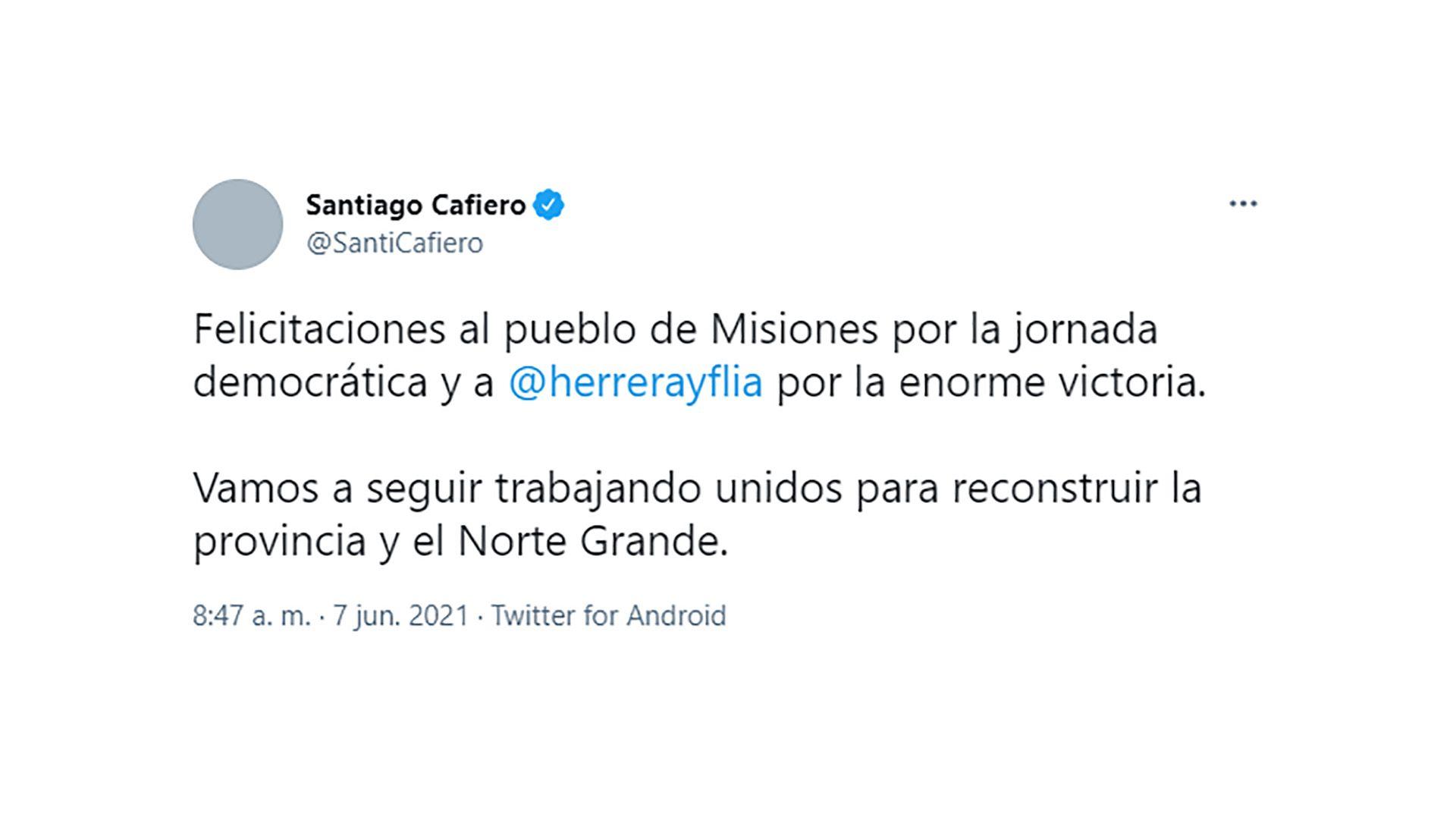 Santiago Cafiero - elecciones misiones