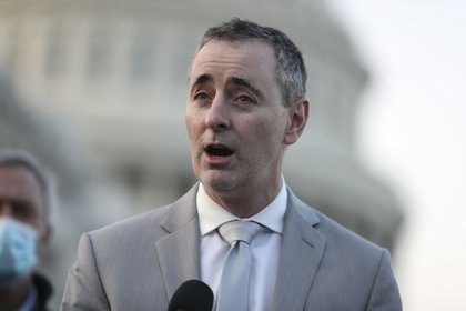 Representative Brian Fitzpatrick, a Republican from Pennsylvania, speaks during a news conference with members of the Problem Solvers Caucus at the U.S. Capitol in Washington, D.C., U.S., on Monday, Dec. 21, 2020. The House and Senate are set to vote today on a roughly $900 billion pandemic relief bill to bolster the U.S. economy amid the continued coronavirus pandemic that would be the second-biggest economic rescue measure in the nation's history.