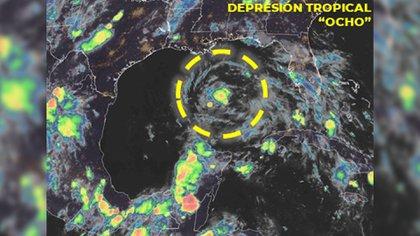 Se forma la depresión tropical ocho en el Golfo de México (Foto: Twitter @conago_mx)