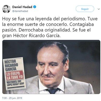 El fundador de Infobae, Daniel Hadad, destacó la trayectoria y el aporte de García