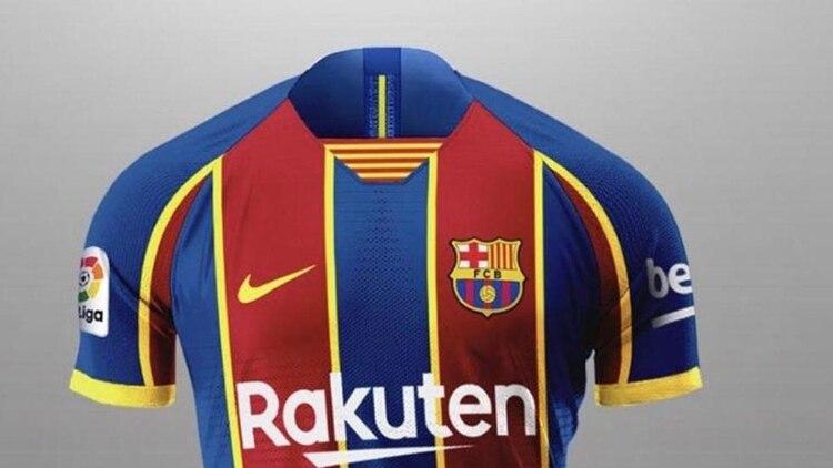 Una de las imágenes que se filtraron de la camiseta del Barcelona para la próxima temporada (Footy Headlines)