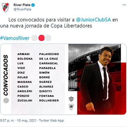 La lista de Marcelo Gallardo.
