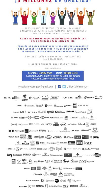 La imagen lanzada al reunir los primeros 3 millones de dólares de fondos y las empresas participantes. #NosCuidamosEntreTodos es una iniciativa empresaria que busca colaborar con las necesidades del sistema sanitario uruguayo