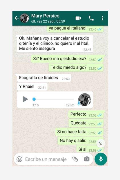El chat entre María del Carmen y Julieta, donde la mujer prefirió posponer un estudio médico para evitar exponerse al virus