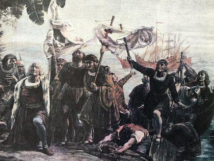El momento en que Colón pisa tierra americana, aunque él siempre creyó que había llegado a Cipango.