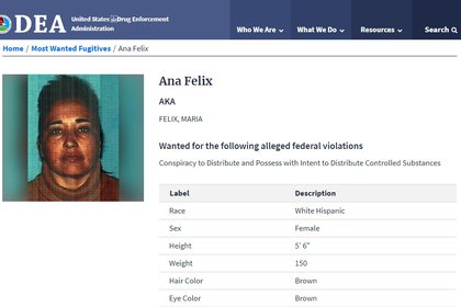 """""""La Doña"""" desapareció sin que las autoridades pudieran establecer el nombre del cártel mexicano que le surtía la droga (Foto: www.dea.gov/fugitives)"""