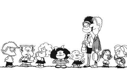 Felipe, Manolito, Susanita, Mafalda, Libertad, los padres de Mafalda, Guille, Miguelito. Gentileza: Editorial De la Flor.