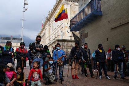 Comunidades indígenas víctimas del conflicto armado residentes en la ciudad de Bogotá. Foto: Camila Díaz-Colprensa.