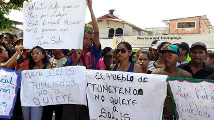 Protesta contra Solís en diciembre de 2019