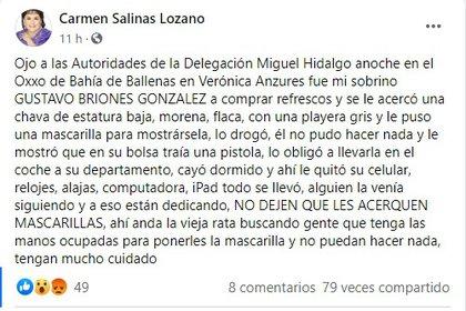 El mensaje de Carmen Salinas en Facebook