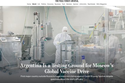 According to The Wall Street Journal, only 39% of Argentines have any degree of confidence in the Sputnik V vaccine