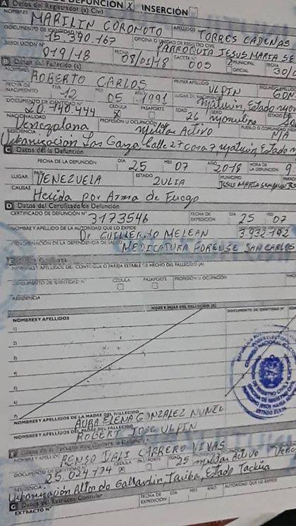 El acta de defunción de Ulpin González