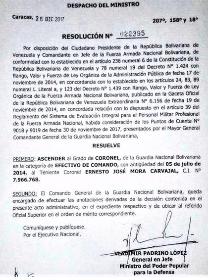 Tras la absolución, Cheto Mora fue ascendido a coronel