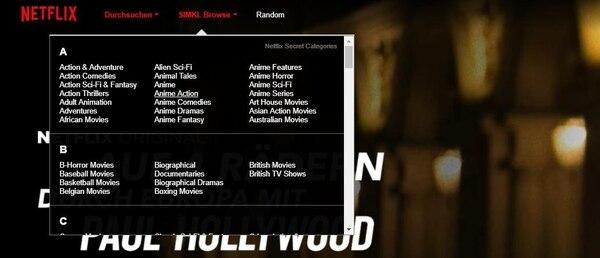 En las categorías de películas hay mucho más de lo que Netflix muestra a sus usuarios en la interfaz estándar. Imagen: Netflix