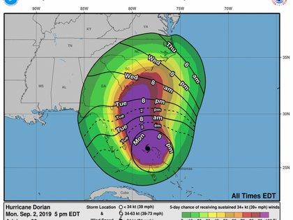 Los tiempos de llegada de Dorian pronosticados para Florida (Foto: NHC)