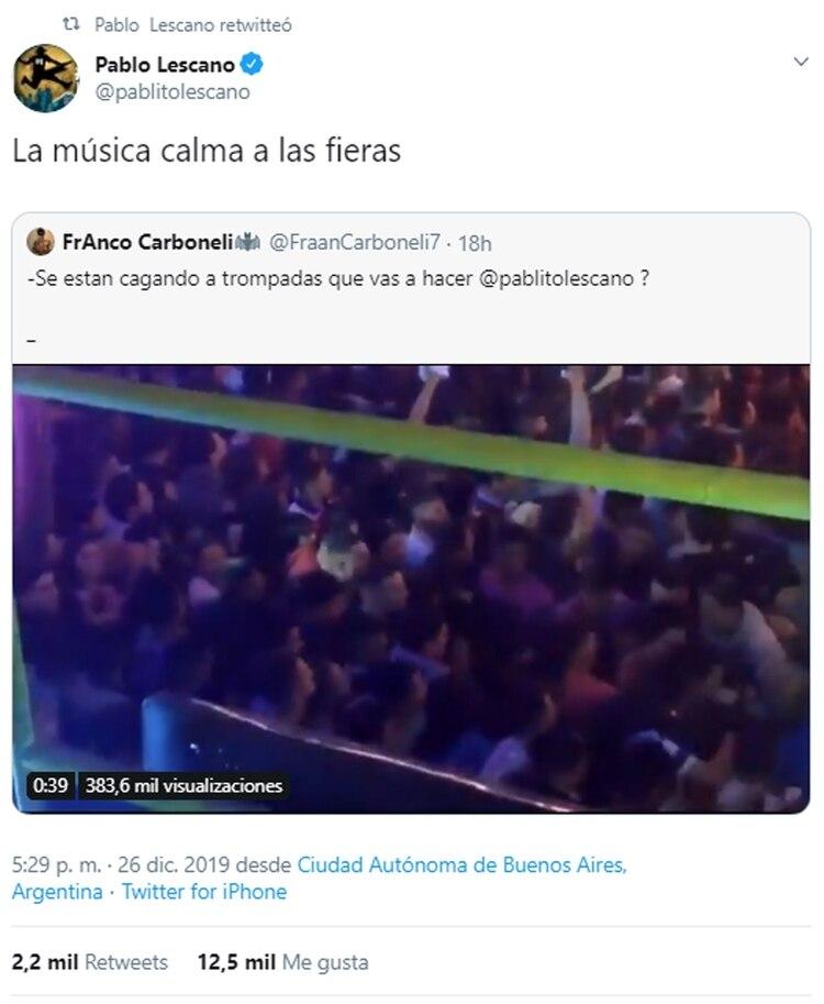 Captura de la cuenta de Twitter de Pablo Lescano