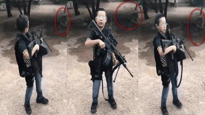 """En redes sociales han aparecido fotos y videos de niños """"jugando"""" a ser narcos, el de la foto posa con armas reales y un tigre de mascota al fondo, lo que preocupa a sociólogos y académicos  Foto: Captura de pantalla"""
