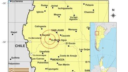 El epicentro del sismo fue a 57 km al SO de San Juan