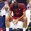 Sep 3, 2018; New York, NY, USA; Roger Federer of Switzerland reacts during a changeover in a fourth round match against John Millman of Australia on day eight of the 2018 U.S. Open tennis tournament at USTA Billie Jean King National Tennis Center. Mandatory Credit: Danielle Parhizkaran-USA TODAY Sports