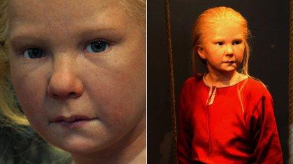 Estrid Sigfastdotter, a quien Nilsson reconstruyó en tres edades diferentes de su vida. Aquí la muestra cómo hubiera sido de niña. Estrid es uno de los hallazgos más antiguos de Suecia que ha sido identificado y nombrado. Fue una mujer influyente que vivió en los años 1000