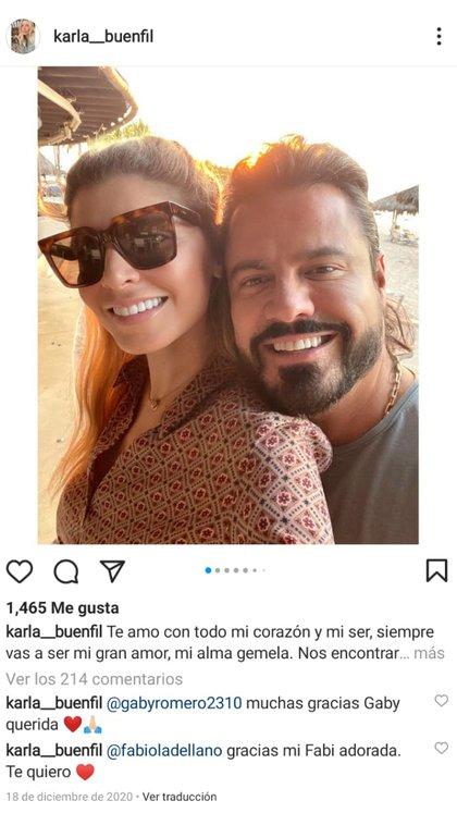Entre quienes le dieron el pésame en los comentarios destacaron personalidades como Alejandro Fernández, Sherlyn y Omar Chaparro (Foto: Instagram@/karla__buenfil)