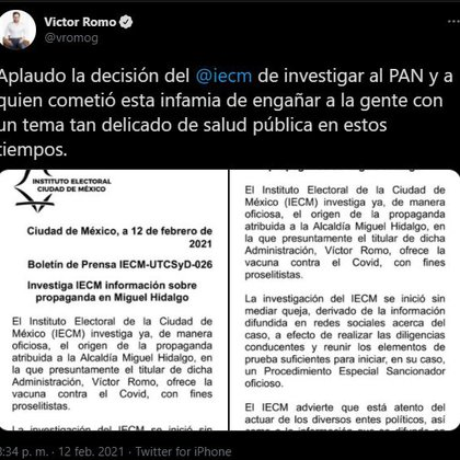 """Before this news, Romo spoke from social networks and applauded the IECM's decision to """"investigate the PAN"""" (Photo: Twitter @ / vromog)"""