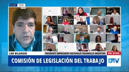 Leo Bilanski, de la Asociación de Empresarios Nacionales, planteó el tema de las pymes ante la comisión legislativa