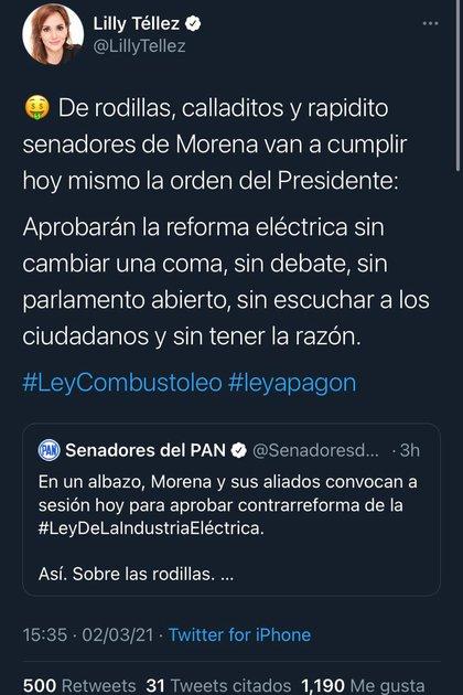 Recientemente Andrés Manuel López Obrador presentó una iniciativa al Congreso Mexicano con la finalidad de reformar la Ley de la Industria Eléctrica (Captura de pantalla/Twitter: @LillyTellez)