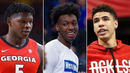 Anthony Edwards, James Wiseman y LaMelo Ball, los tres primeros jugadores que fueron elegidos en el Draft de la NBA