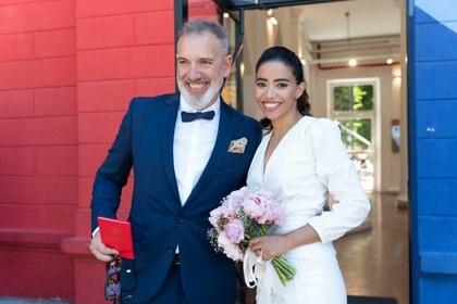 La pareja se casó el lunes al mediodía (Foto: Franco Fafasuli)