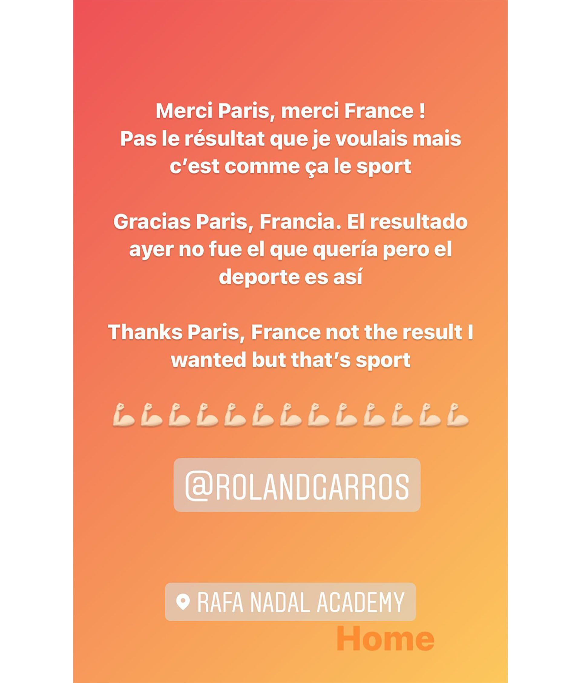 Posteo de Rafa Nadal despues de perder en Roland Garros