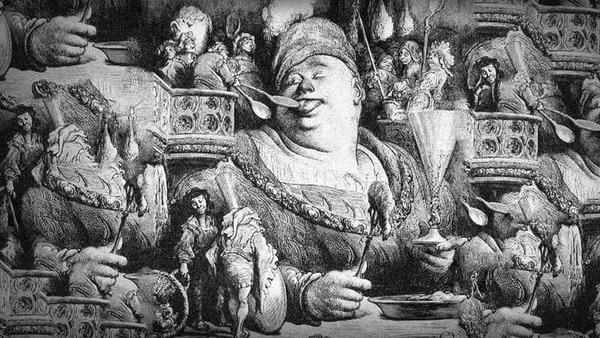 Ilustración de Gargantúa, por Gustave Dore
