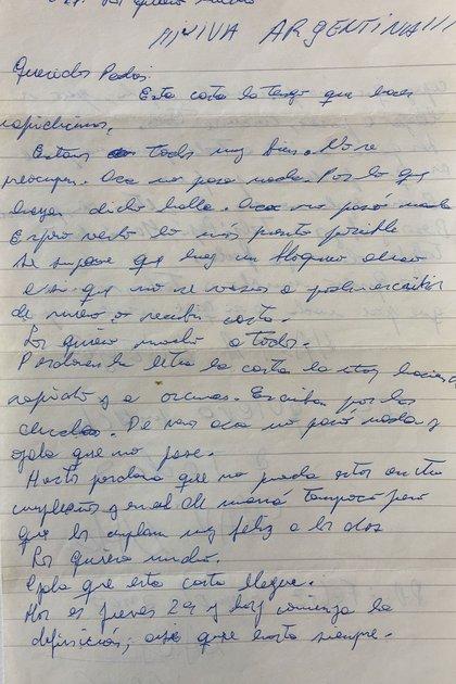La carta de Raúl a sus padres