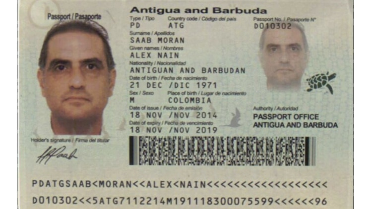 la ficha de interpol de Alex Nain Saab Moran