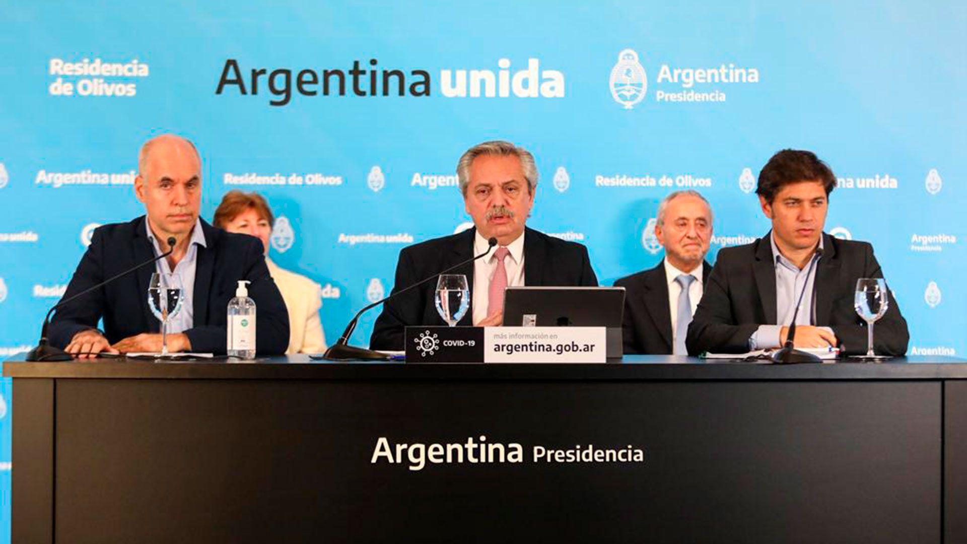Alberto Fernández, otra vez junto a Horacio Rodríguez Larreta y Axel Kicillof. Nueva fase de la cuarentena.