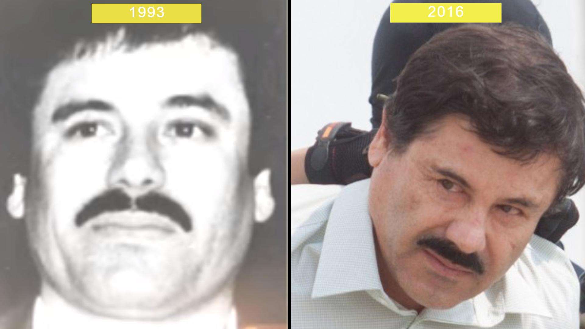 """´Dos imágenes de Joaquín """"El Chapo"""" Guzmán. La primera en 1993, el narco mexicano muestra su característico bigote . En la segunda foto, del año 2016 cuando """"El Chapo"""" fue retratado por última vez como líder del Cartel de Sinaloa, muestra u ligero cambio en el área al rededor de los ojos (Foto: Especial)"""